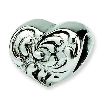 Sterling Silver Antique finish Reflections SimStars Scroll Heart Bead Charm