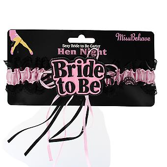 Hen Night Party Sexy Bride to Be Pink and Black Lace Garter Accessory