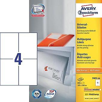 Avery-Zweckform 3483-200 Labels (A4) 105 x 148 mm Paper White 800 pc(s) Permanent All-purpose labels Inkjet, Laser, Copi