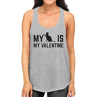 My Cat My Valentine Women's Funny Graphic Tank Top For Cat Lovers