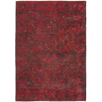 Distressed Grey Red Medallion Flatweave Rug 230 x 330 - Louis de Poortere