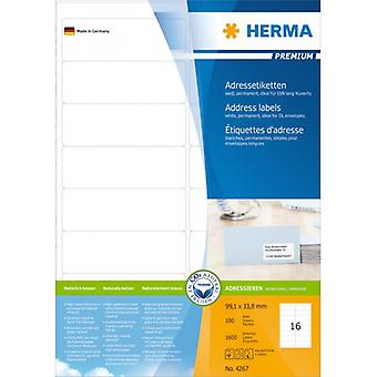 Address labels white 99, 1x33 .8 Herma Premium A4 1600 pcs.