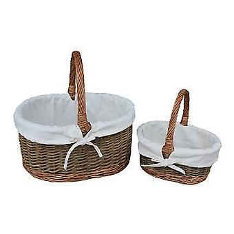 White Lined Childs Set of Two Country Oval Wicker Shopping Baskets