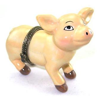 Lyserød gris lille Piggy Grisling hængslet nipsting boks phb