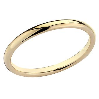 Ladies 2mm Stackable Wedding Band in 14K Yellow Gold