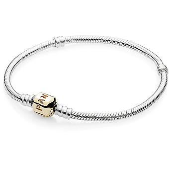 Pandora Sterling Silver Bracelet With 14K Gold Clasp - 590702HG-19