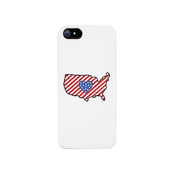 USA karta amerikanska flaggan vit telefon fallet