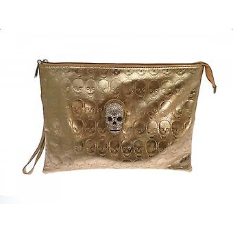 W.A.T Gold Faux Leather Crystal Skull Clutch Bag