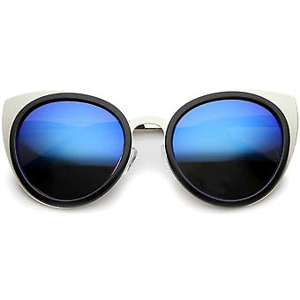 Womens Metal Cat Eye Sunglasses With UV400 Protected Mirrored Lens
