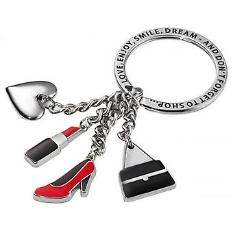 Troika She Loves It 3 Charm Key Ring - Silver/Black/Red