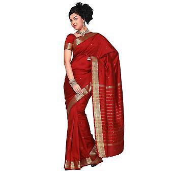 Arte seda sari Sari Marrón tela India oro frontera