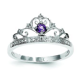 Sterling Zilver gepolijst Prong instellen Open terug Rhodium-plated Rhodium Plated diamant en amethist Ring - Ringmaat: 6 tot en met 9
