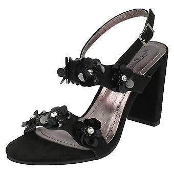 Ladies Anne Michelle Flower Trim Sandals F10780