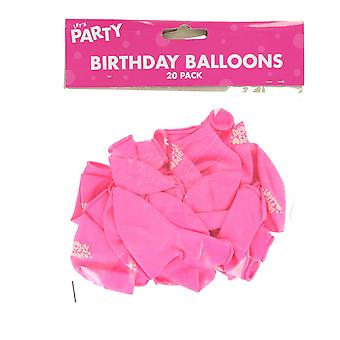 Pack of 20 Princess Pink Happy Birthday Balloons Party Decorations/ Supplies
