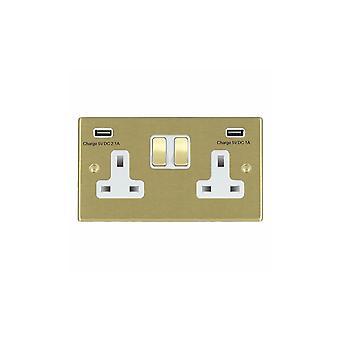 Hamilton Litestat Hartland Satin Brass SP SS2 + USBx2 SB/WH