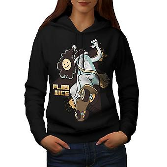 Play Nice Skate Fashion Women BlackHoodie | Wellcoda