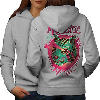 Shooting Laser Cool Cat Women GreyHoodie Back | Wellcoda