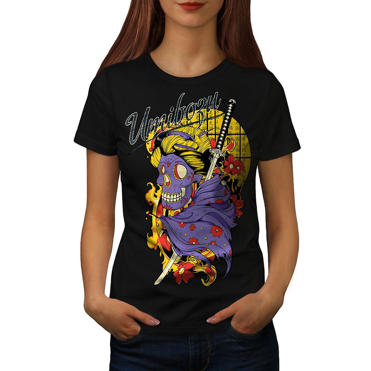 Umibozu Spirit Cool Skull Women Black T-shirt   Wellcoda