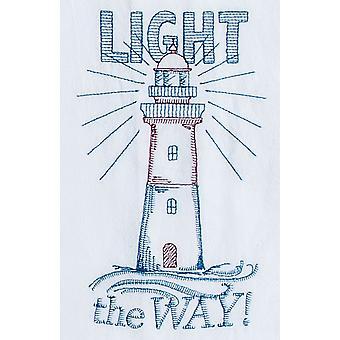 Licht den Weg Leuchtturm bestickt Mehl Sack Küche Geschirrtuch