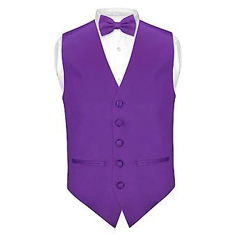 Imposta Mens SLIM FIT vestito gilet BowTie solido Papillon fazzoletto