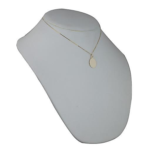9ct Gold 20x15mm plain oval Disc with a curb Chain 16 inches Only Suitable for Children