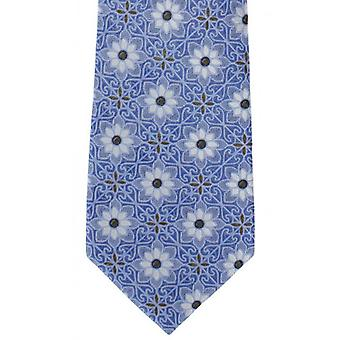 Michelsons of London Tile Medallion Silk Tie - Blue