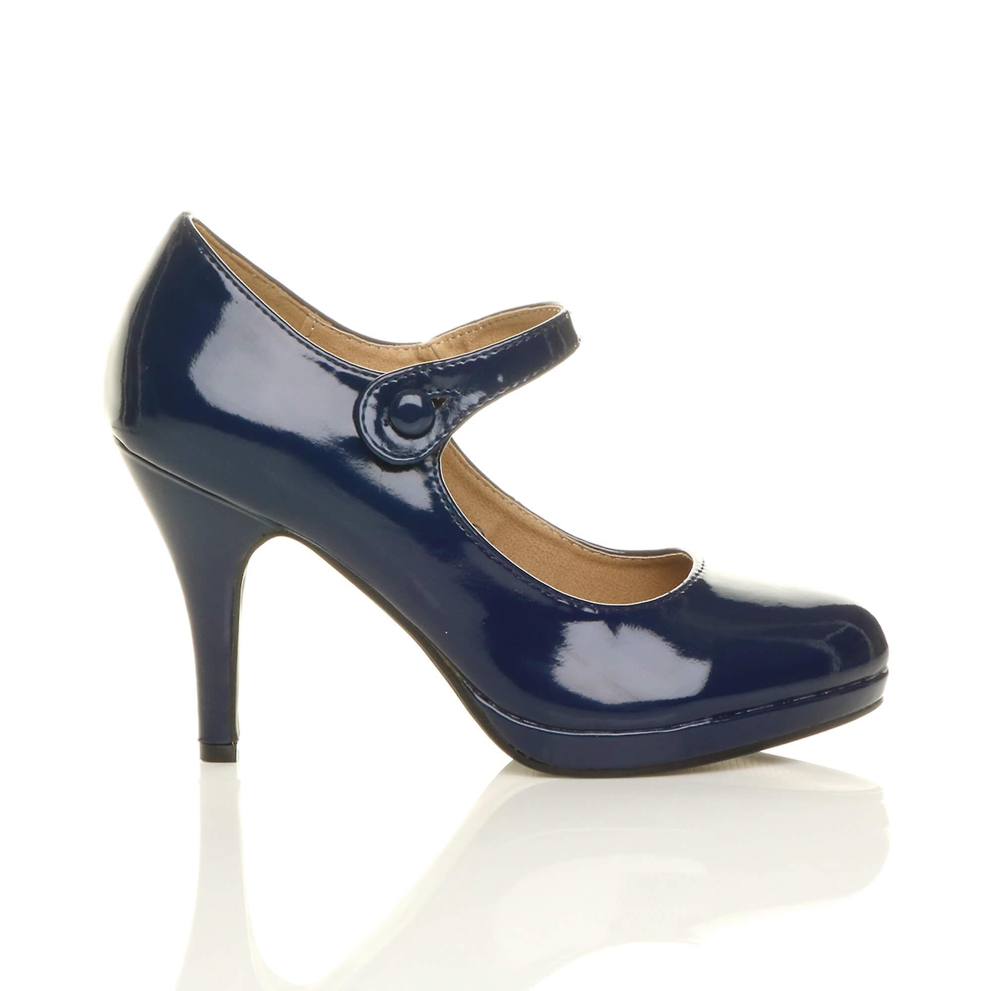 Ajvani shoes heel mary platform work jane mid court high womens evening BwqvArnB