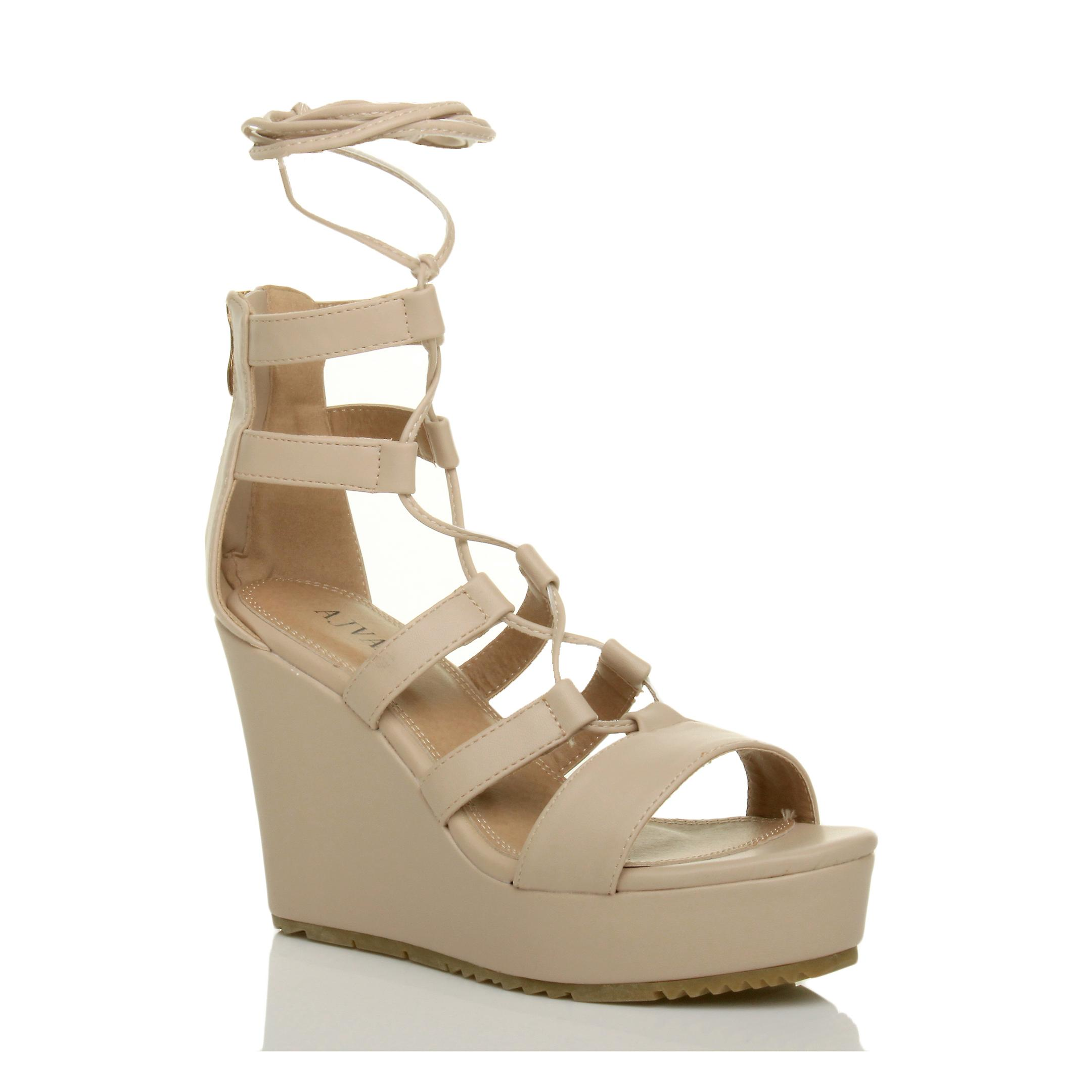 Ajvani womens high wedge platform ghillie lace tie up zip gladiator caged sandals shoes