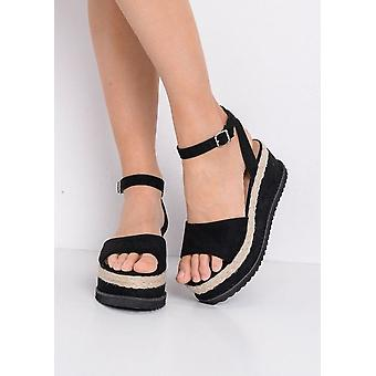 Espadrille Flatform Wedge Faux Suede Sandals Black