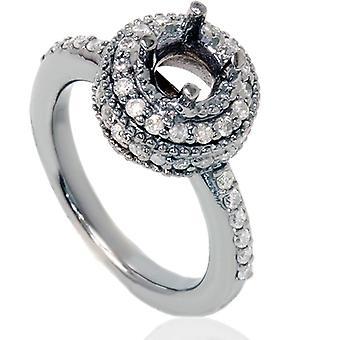 1 / 2ct серый алмаз обручальное кольцо настройки 14K Белое золото