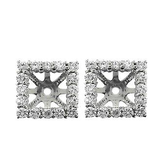 G/SI 1 1/4ct Princess Cut Diamond Halo Earring Jackets Studs 14K White Gold Fits 5.5-6mm