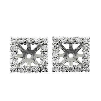 Boucle d'oreille G/SI 1 1 / 4ct diamant taille princesse Halo manteaux goujons 14K or blanc correspond à 5,5-6mm