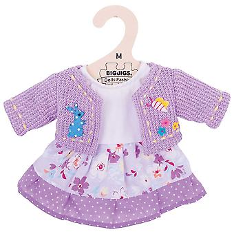 Bigjigs Toys Plush Lilac Rag Doll Dress & Cardigan (34cm) Soft Rag Doll Outfit