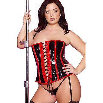 Allure Lingerie AL-11-1057X A Bewitching Vinyl Corset with Piping plus sizes