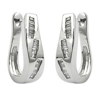 Oval silver Creole white cubic zirconia Klappkreolen 925 rhodium-plated sterling silver