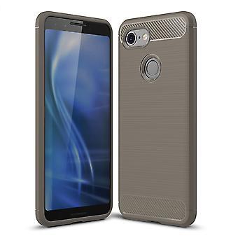 Google pixel 3 cover silicone grey carbon optics case TPU mobile cover bumper