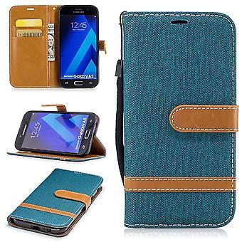 Tasche für Samsung Galaxy A5 2017 Jeans Cover Handy Schutz Hülle Case Grün