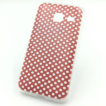 Cell phone case voor Samsung Galaxy J1 mini polka dot rood zakje geval + 1 x tank bescherming glas