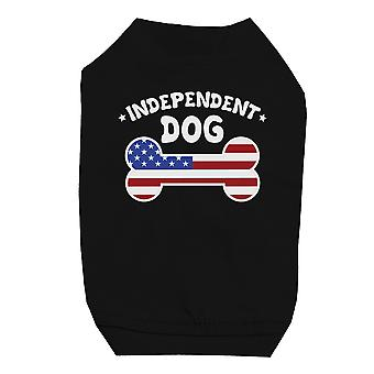 Independent Dog Shirt Black Cute Small Pet T-Shirt For 4th Of July