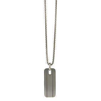 TI2 Titanium genäht, Muster-Anhänger und Kette - Silber