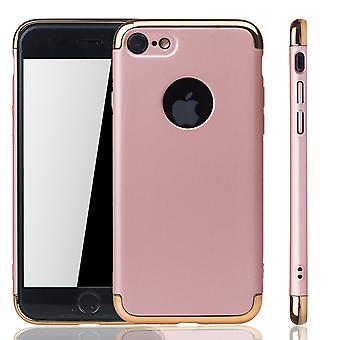 Krzemu Skóra Etui na Apple iPhone 7 zderzak 3 w 1 okładka chrome Rose Gold