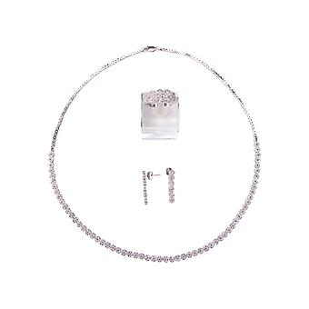 Silver necklace, earrings and ring