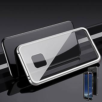 Für Huawei Mate 20 Pro Magnet / Metall / Glas Case Bumper Silber / Transparent Tasche Hülle Neu