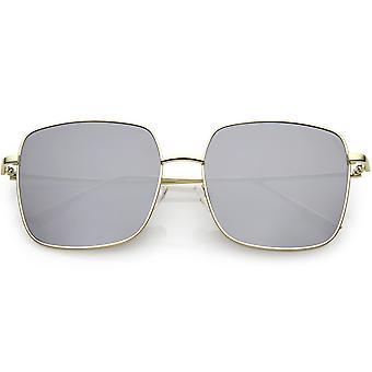 Негабаритных металла квадратные солнцезащитные очки плоский объектив 57 мм