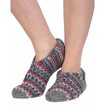 Sherpa fleece-lined wool slipper socks in grey | Handmade by KuSan