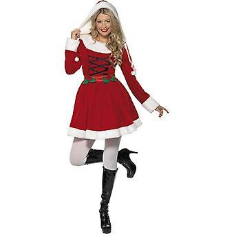 Miss Santa Costume  Hood, UK Dress 8-10