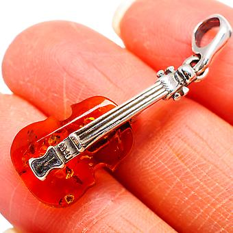 Genuine Baltic Amber Violin 925 Sterling Silver Pendant 1 1/2