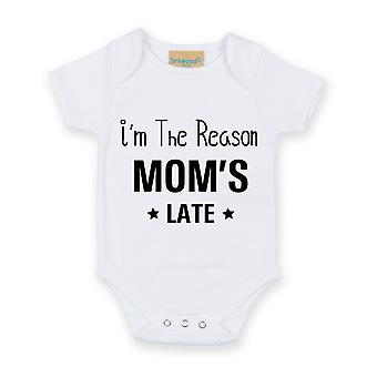 I'm The Reason Mom's Late White Short Sleeve Baby Grow
