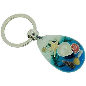 The Olivia Collection Sea Life Key Ring with REAL Starfish and Shells