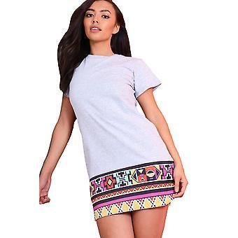 Lovemystyle Oversized Grey T-Shirt Dress With Aztec Hem Detail